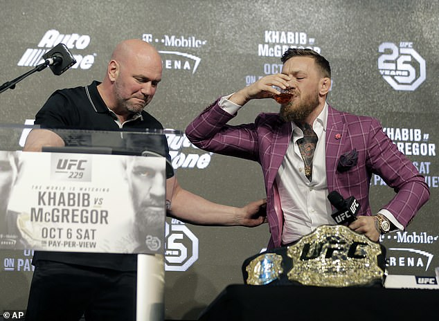 McGregor intermittently promoted his 'Proper No.12' whiskey during the event in New York