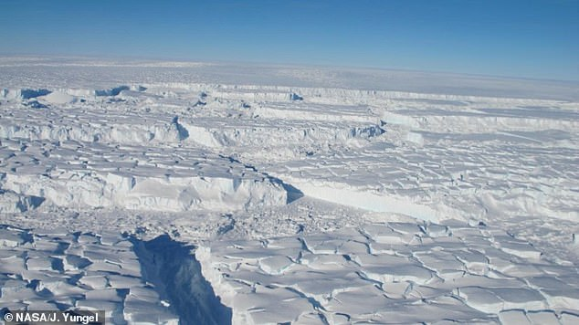 Pictured is  the Thwaites Ice Shelf in October 2012. Colossal underwater walls could stop 'runaway' ice sheet collapsing and triggering a rise in sea levels worldwide, say scientists