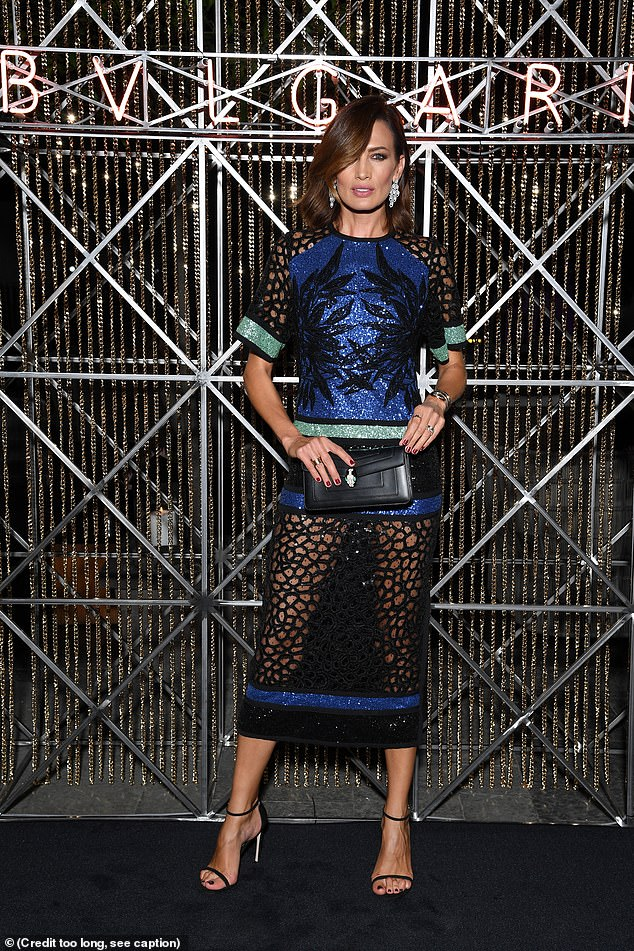Wow: Nieves Alvarez dazzled in a sparkly royal blue semi-sheer number