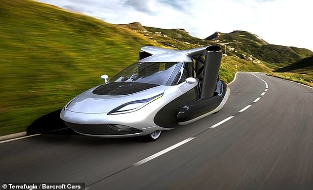 An artist's rendering of the vehicle on road.The vehicle also meets National Highway and Traffic Safety Administration standards but consumers will need a pilot's license to operate it