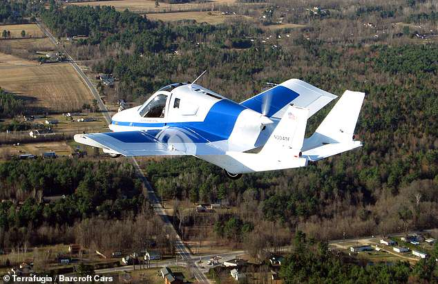 According to manufacturer Terrafugia, which belongs to Volvo, the Transition can fly up to 400 miles at top speeds of 100 mph. Pictured: a test flight of the Transition