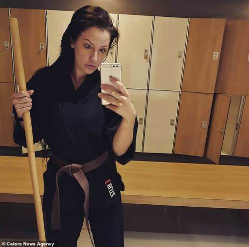 Kerri (pictured earlier this year in a martial arts gear) described herself as the 'fittest and healthiest' she's been, explaining how she's been training towards a black belt in martial arts