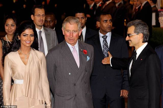 In the beginning:Princess Ameera was just 18 when she met her first husband, whom she interviewed for a school paper (Princess Ameera andPrince Alwaleed with Prince Charles in 2010 at the reopening of The Savoy in London)