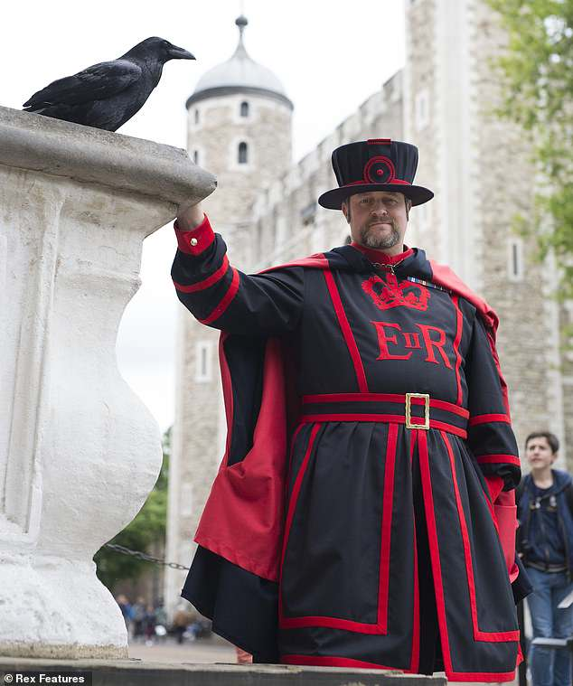 Chris Skaife, Master Raven Keeper at the Tower of London, pictured with Merlina the raven