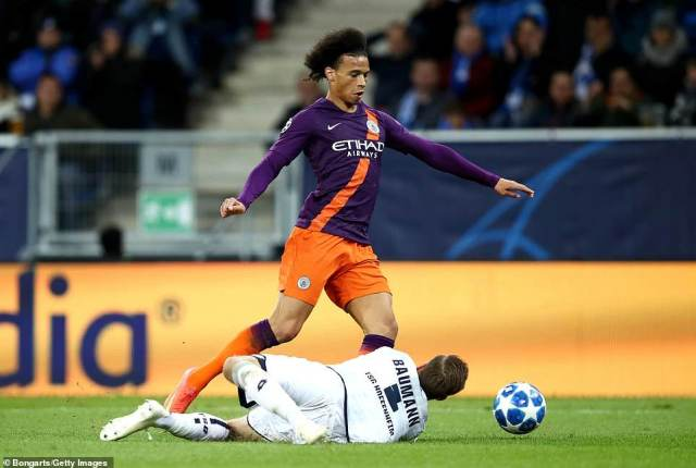 City thought they had a penalty when Sane was brought down by Hoffenheim goalkeeper Oliver Baumann