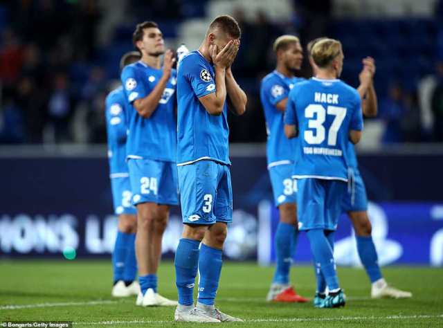 Pavel Kaderabek of Hoffenheim looks dejected following his side's narrow defeat in the Champions League Group F match