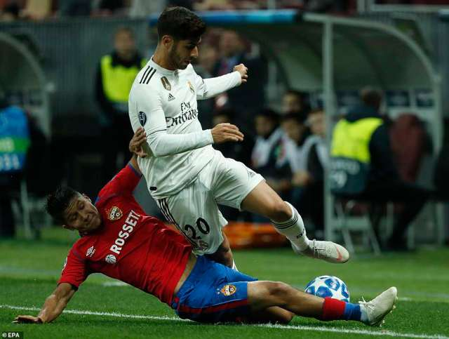 Ilzat Akhmetov slides into a challenge with Los Blancos playmaker Marco Asensio on the touchline in the Russian capital