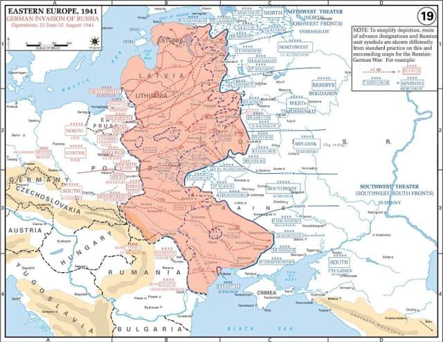 How the German forces advanced during the opening stages of Operation Barbarossa in August 1941. The German offensive was launched by three army groups under the same commanders as in the invasion of France in 1940. The invasion took place along a 2,900-km front and took the Soviet leadership completely by surprise
