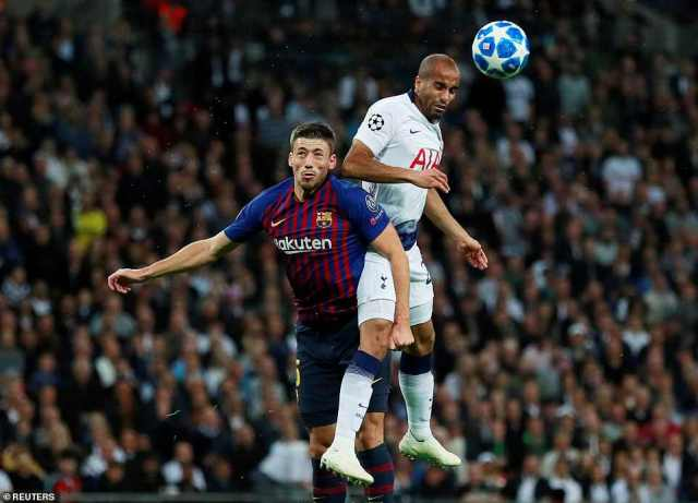 Lucas Moura rose above Lenglet to win an aerial duel and launch an attack as Spurs looked for a way back into the game