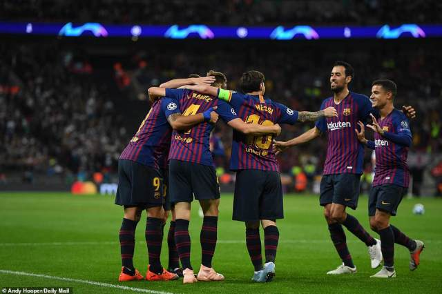 Barcelona claimed victory in a six-goal Champions League thriller against Tottenham on Wednesday night