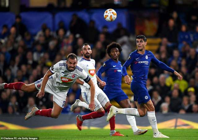 Roland Juhasz got into a dangerous position in the Chelsea penalty area but his header did trouble Kepa Arrizabalaga