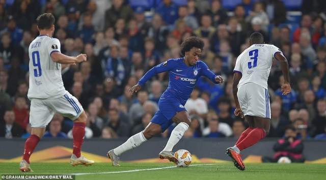 Willian was deployed on the left side of a three-man attack as Chelsea tried to force the issue against their Hungarian visitors