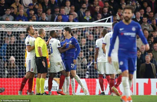 Morata squared up to Vinicius in the aftermath with the Vidi player accusing the forward of forcing him to the ground
