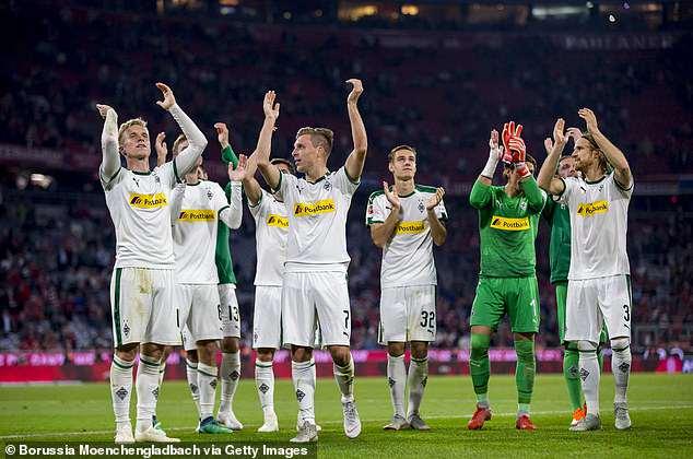 Borussia Moenchengladbach celebrate after there 3-0 win in the Bundesliga encounter