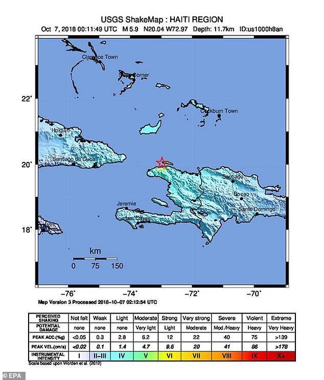 An earthquake that struck off the northern coast of Haiti late on Saturday killed at least 11 people and injured more than a hundred when several buildings collapsed in the impoverished Caribbean country, officials said
