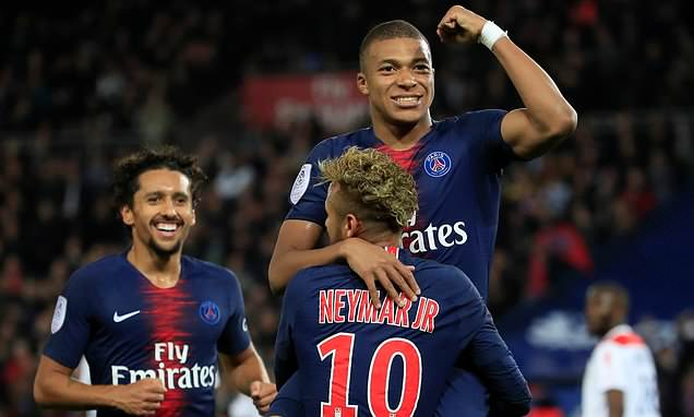 Image result for Mbappe scores 4, earns penalty against Lyon