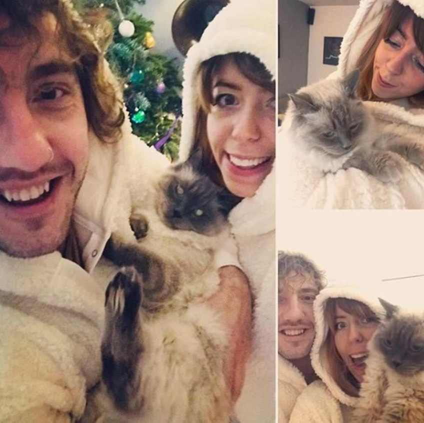 'I'm not sorry I took the cat': Rebecca and Seann with their cat Winston the ragdoll. She revealed she has left him and taken Winston
