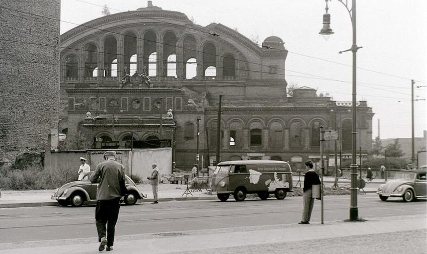 The ruins of Anhalter Bahnhof, West Berlin, in August 1960. Mr Hailstone says this was one of the more bizarre experiences of his visits to Berlin. He said: 'I entered the ruin of this railway terminus and discovered a tunnel which I explored. As it was very near the border with the East I imagined with some trepidation that the other end might surface in East Berlin. However, after crawling along it for some time I found that the other end emerged near the border but still in the West. It was later pointed out to me that the tunnel was constructed in 1927 from the station to connect to the basement of the nearby Excelsior Hotel'