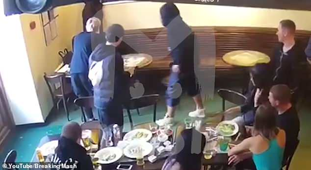 Alexander Kokorin, reportedly in the black hoody, is facing jail for attacking a politician