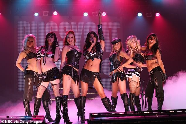 Throwback: Ashley (L) alongside Pussycat Dolls (L-R) Kim Wyatt, Melody Thornton, Nicole Scherzinger, Jessica Sutta, Carmit Bachar, and Robin Antin were famed for their sexy outfits