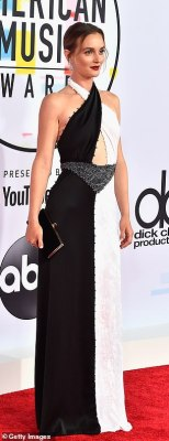 Monochrome magic: Leighton Meester looked glam in a black and white cut-out Sonia Rykiel dress