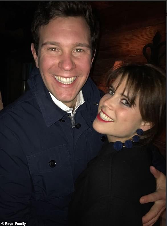 Jack and Eugenie are pictured celebrating New Year's Eve in upmarket ski resort Verbier, Switzerland - the place where they first met seven years ago - just a few weeks before they announced their engagement in January this year