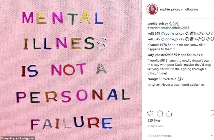 Showing her support: Katie's sister Sophie broke her silence on social media on Wednesday afternoon when she posted about mental health struggles