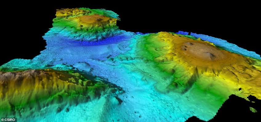 The seamounts tower up to 3000m from the surrounding seafloor but the highest peaks are still far beneath the waves, at nearly 2000m below the surface