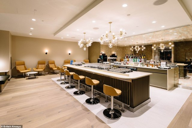 The brand new British Airways first class lounge in Terminal 7 at New York's JFK Airport. The new lounge is part of a £52million investment by BA at the hub