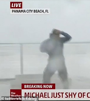 Jim Cantore was recording a live broadcast during the hurricane