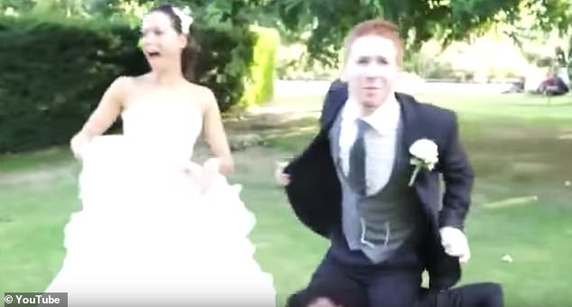 Comical: The pair perform a quirky dance after exchanging vows in another scene