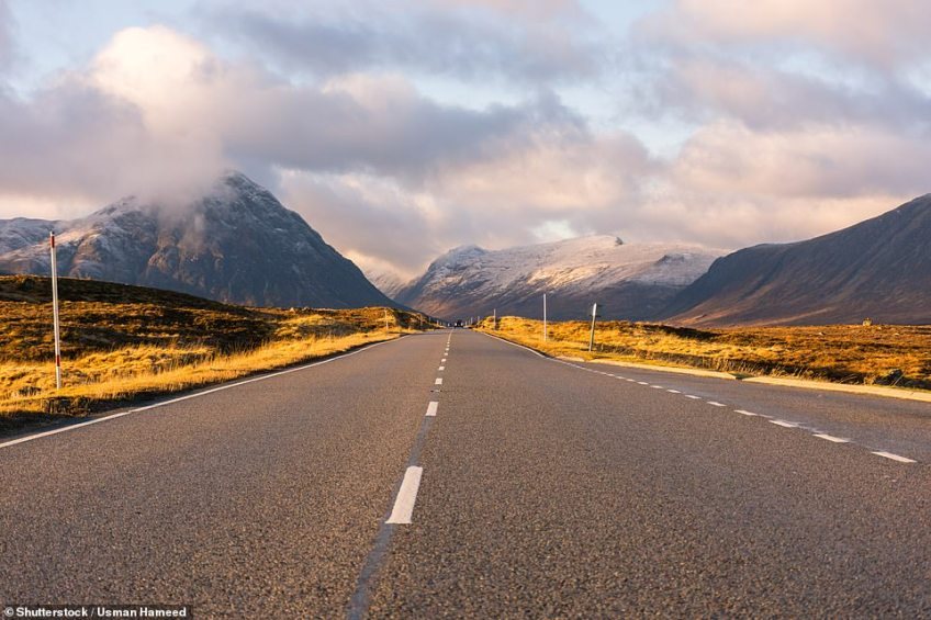 Rounding off the top five is the A82 near Glencoe in the Scottish Highlands, which boasts stunning mountain scenery