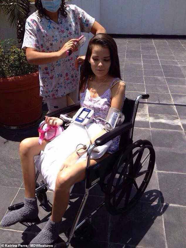 As she slowly regained her strength, Ms Parra was forced to get around in a wheelchair while she re-learnt how to walk. She also required physiotherapy and a vocal coach, and claims it took two months before she could move just one finger or make even the slightest noise