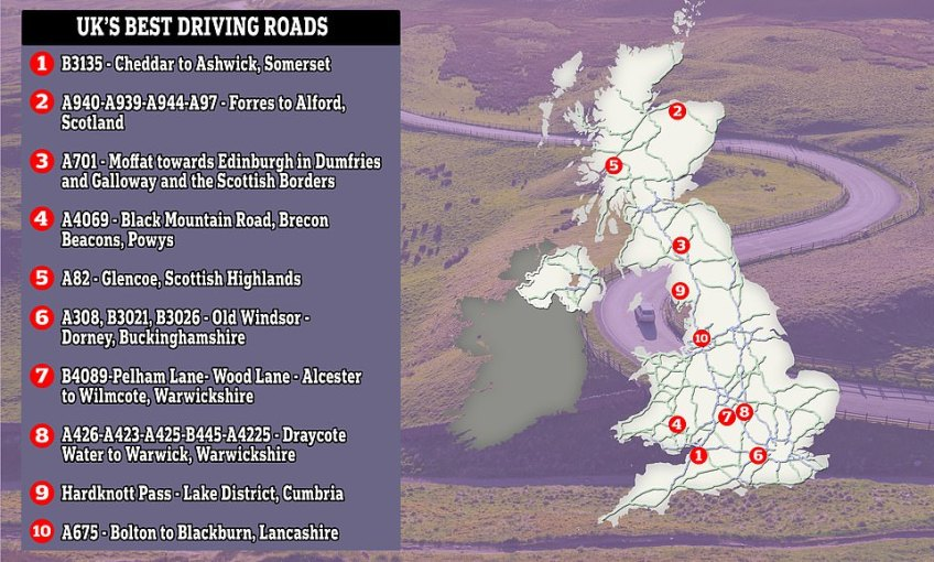 A map of the UK showing where the top ten best driving roads in the country are located