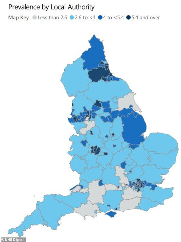 Data from NHS Digital in October revealed more than 24,000 10 to 11-year-old children in England are severely obese, and the problem is worse in poorer areas (map showing the percentage of severely obese Year 6 children in local authorities across England)
