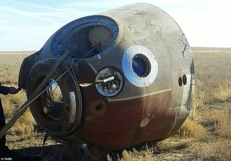 A view of the Soyuz MS-10 space capsule crash landed on the Kazakh steppe on Thursday. Rescuers who rushed to the aid of the two stranded astronauts took the revealing photo showing the stricken capsule lying on its side after the aborted mission to the International Space Station