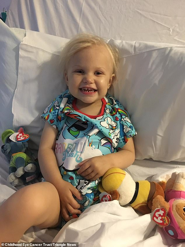 Alice Taylorlost her eye to a rare form of cancer after her mother noticed she could not see while playing pirates. Pictured aged three in hospital, the youngster was just two when she was diagnosed withthe rare, aggressive eye cancer retinoblastoma in May last year