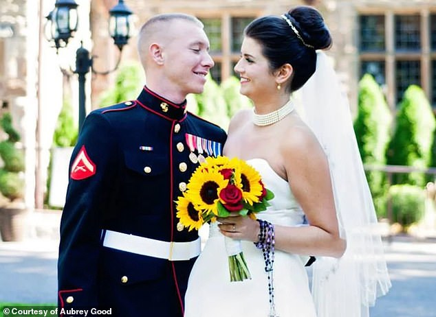 Good said she was annoyed at being on the wrong medication for the wrong disorder for years and was worried about the stigma that would surround her new disorder. Pictured: Good and her husband on their wedding day