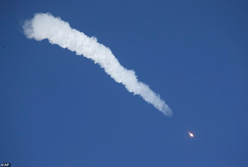 TheSoyuz-FG rocket booster with Soyuz MS-10 space ship during the troubled ascent on Thursday from a launch station in remote Kazakhstan. The mission was a collaboration between NASA and Russia's national space agency Roscosmos and was aimed at replenishing manpower aboard the International Space Station