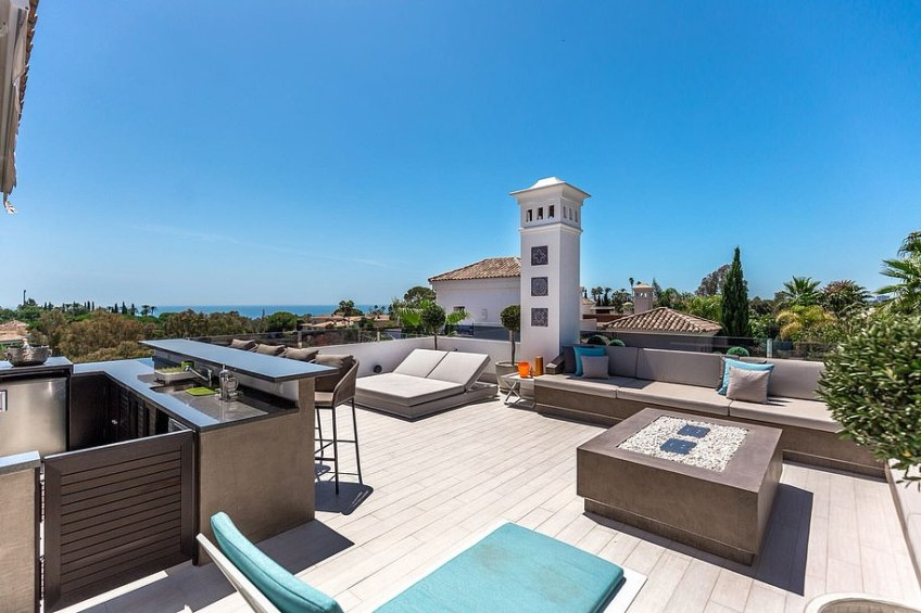 From the villa's swish terrace residents can gaze upon the sparkling Mediterranean Sea