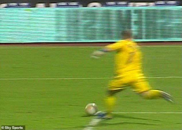 It was calamity for Robinson in Zagreb as he mis-kicked Gary Neville's back pass