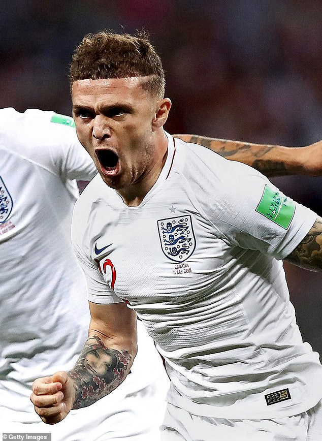 Kieran Trippier celebrates after opening the scoring in the 2018 World Cup semi-final