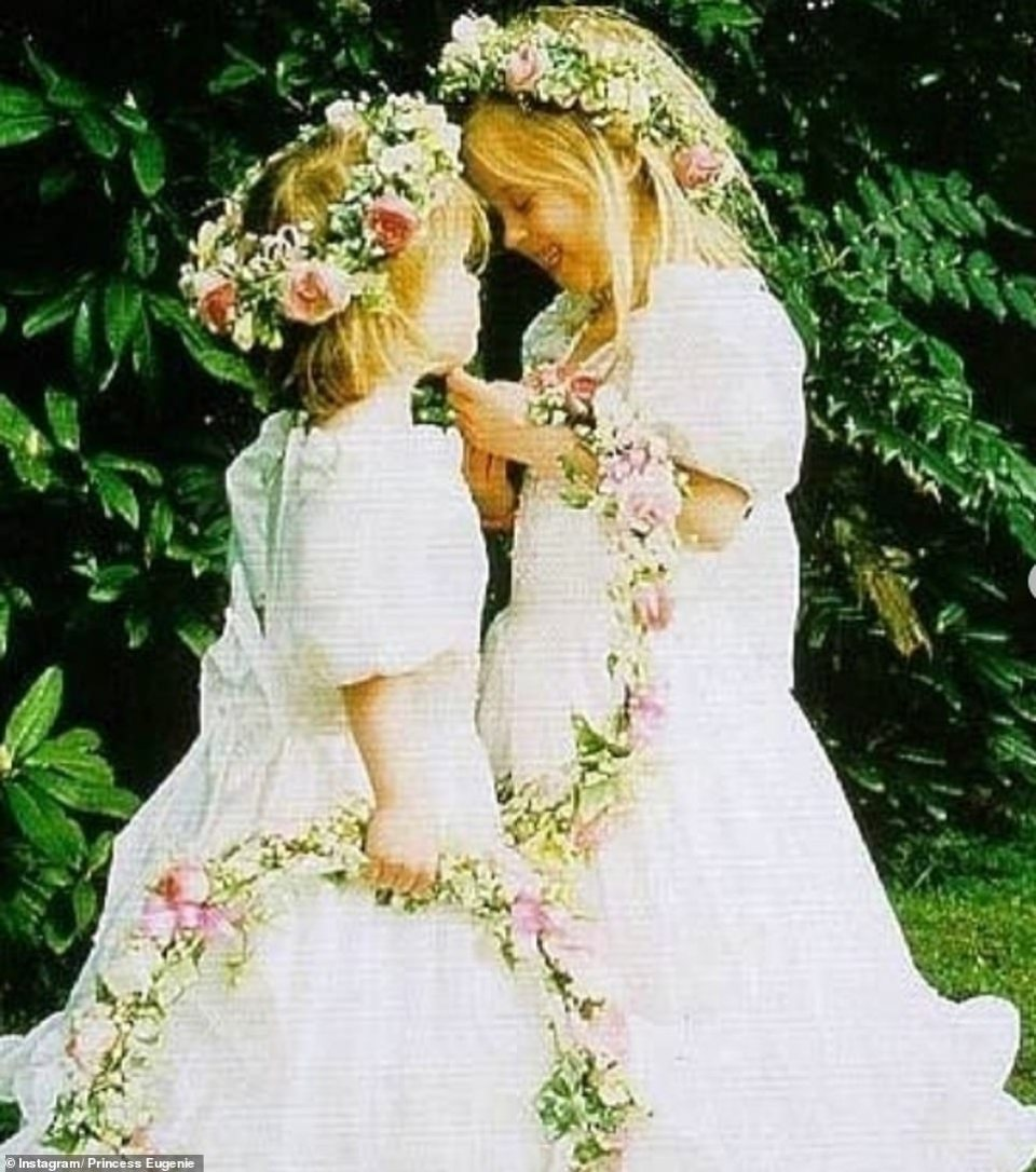 The eldest daughter of Prince Andrew and Sarah 'Fergie' Ferguson made an obvious choice for Maid of Honour. Pictured: Eugenie and Beatrice as bridesmaids as children in a snap shared by the bride on her Instagram account