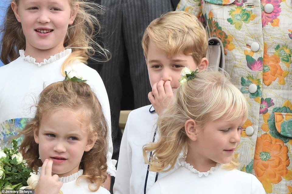 Savannah Phillips, Prince George, Maud Windsor and Isla Phillips were all on hand to accompany Princess Eugenie down the aisle at Windsor Castle today