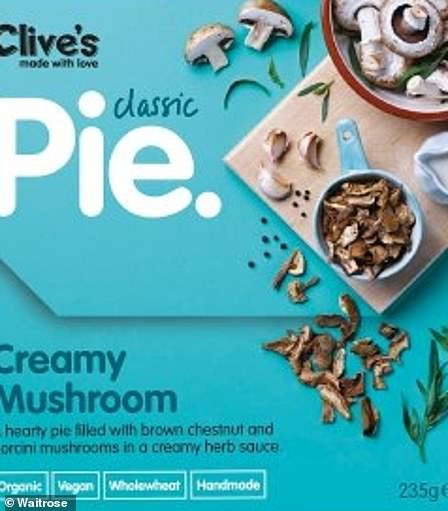 Clive's Creamy Mushroom Pie - Fresh chestnut mushrooms cooked with onions and herbs in a creamy sauce