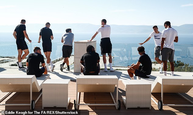 The squad took in the scenic views from the hotel in the coastal city of Rijeka on Friday