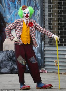 Goofing around:Joaquin Phoenix filmed scenes for The Joker in New York on Saturday