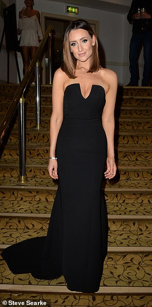 Gorgeous: Catherine Tyldesley was breathtaking in a sleek figure-hugging gown which offered a tease of her bust