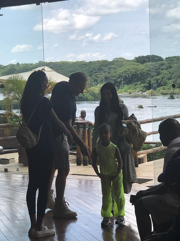 Luxury hotel: Kanye and his family are staying in the five-star Chobe Safari Lodge in Uganda's Murchison Falls National Park with a stunning view of the River Nile