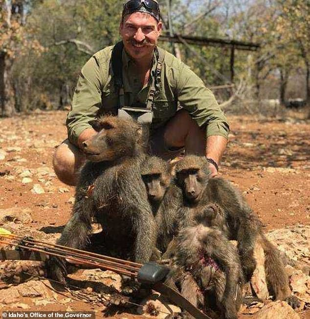 Blake Fischer posted a picture of a family of baboons he shot dead with a bow and arrow